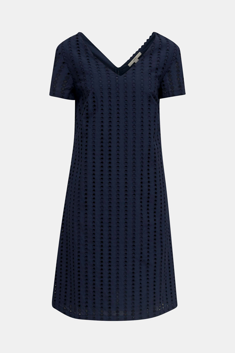 Dress with broderie anglaise, 100% cotton, NAVY, detail image number 7