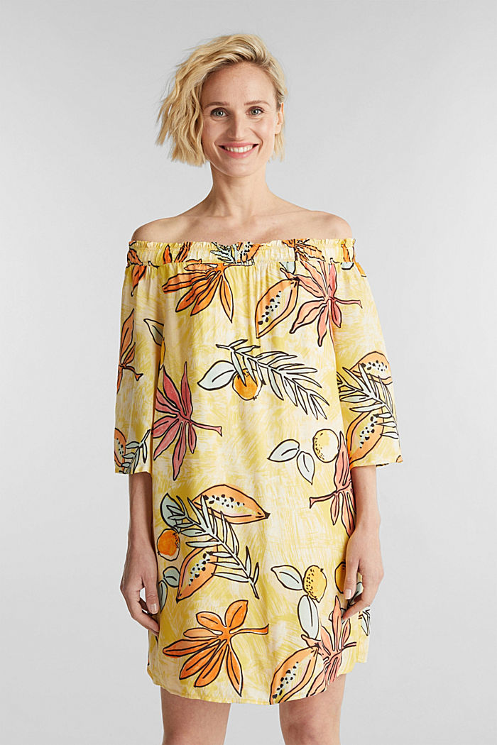 Print dress with bardot neckline, BRIGHT YELLOW, detail image number 0