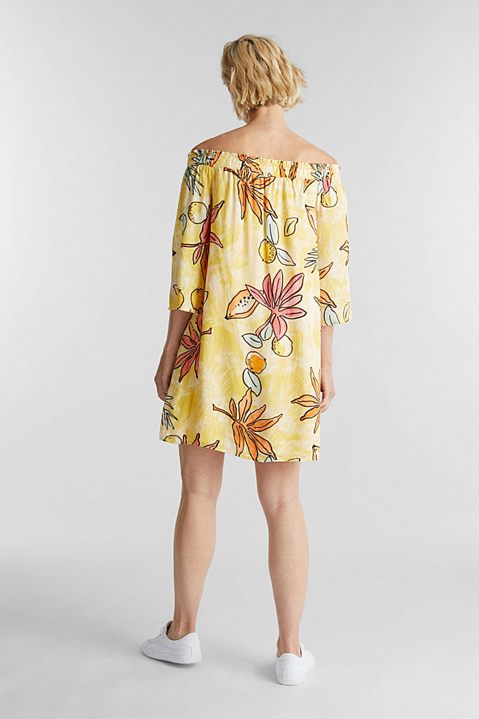 Print dress with bardot neckline, BRIGHT YELLOW, detail image number 2