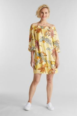 Print dress with bardot neckline, BRIGHT YELLOW 4, detail