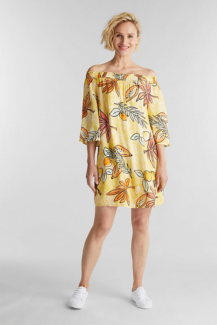 Print dress with bardot neckline, BRIGHT YELLOW, detail image number 1