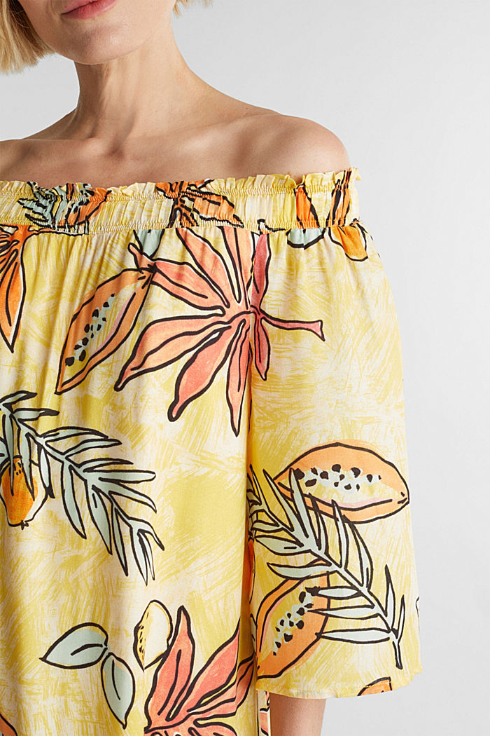 Print dress with bardot neckline, BRIGHT YELLOW, detail image number 3