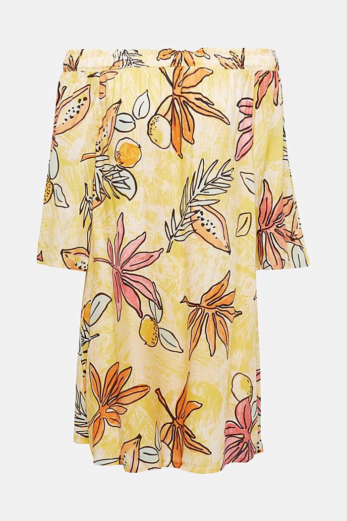 Print dress with bardot neckline, BRIGHT YELLOW, detail image number 5