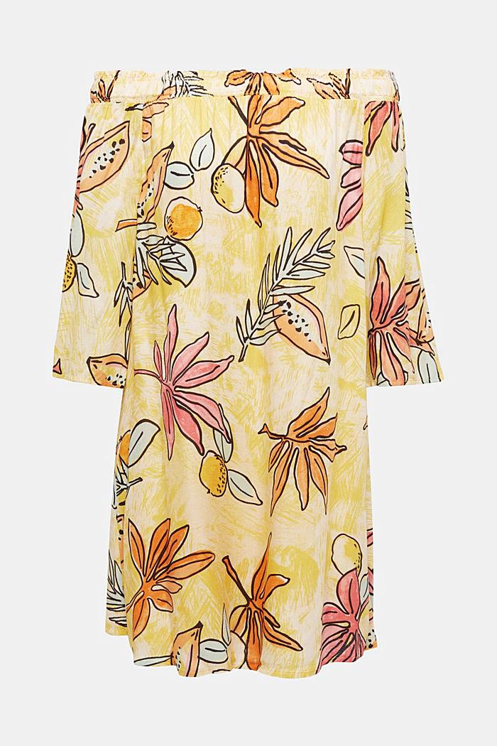 Print-Kleid mit Carmen-Ausschnitt, BRIGHT YELLOW, detail image number 5