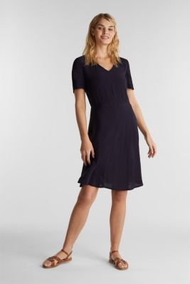 Crêpe dress, LENZING™ ECOVERO™, NAVY, detail