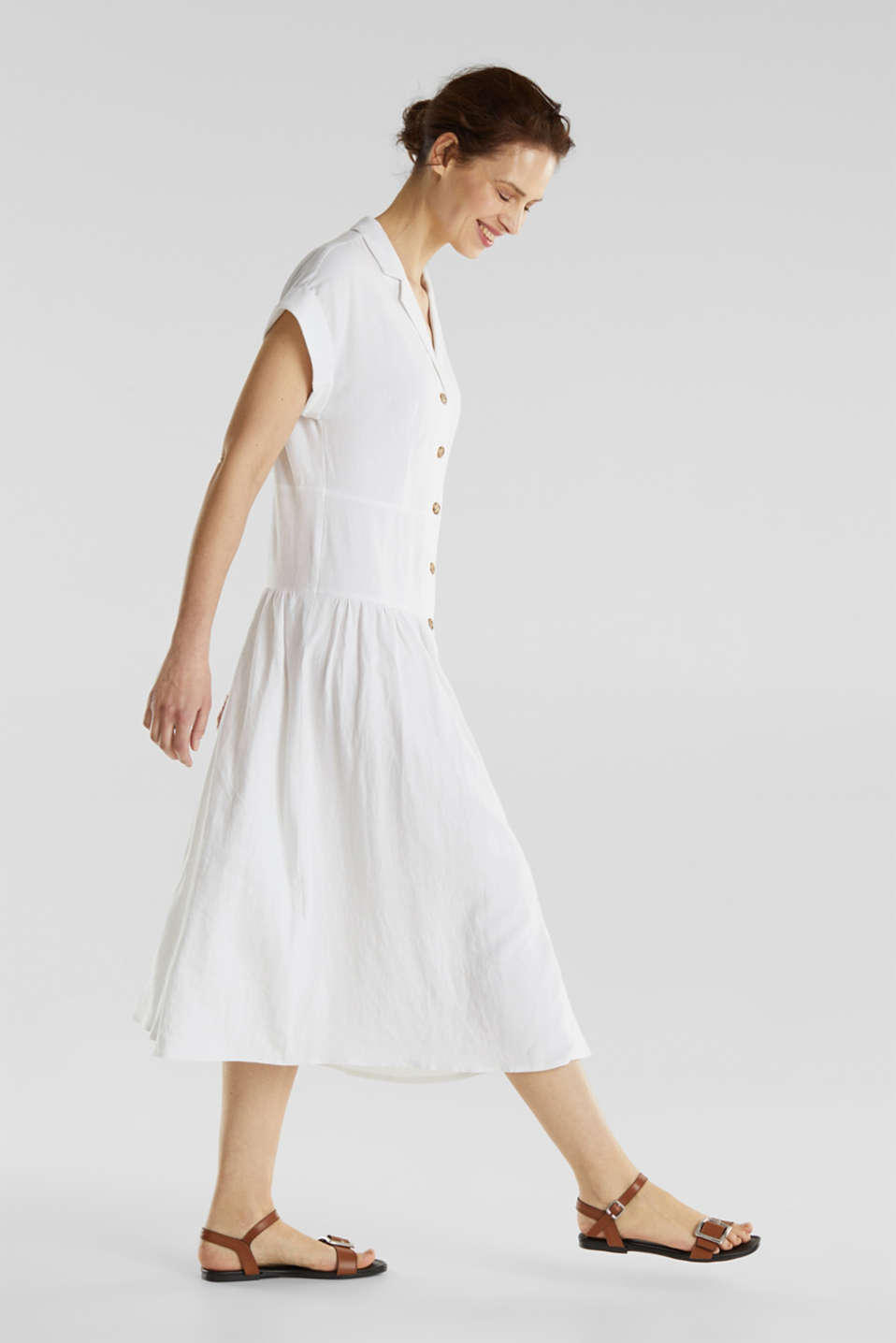 Blended linen: midi dress with a button placket, WHITE, detail image number 0