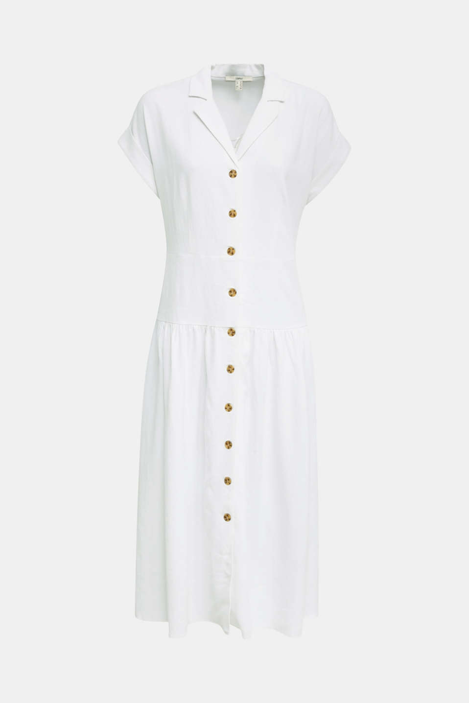Blended linen: midi dress with a button placket, WHITE, detail image number 3