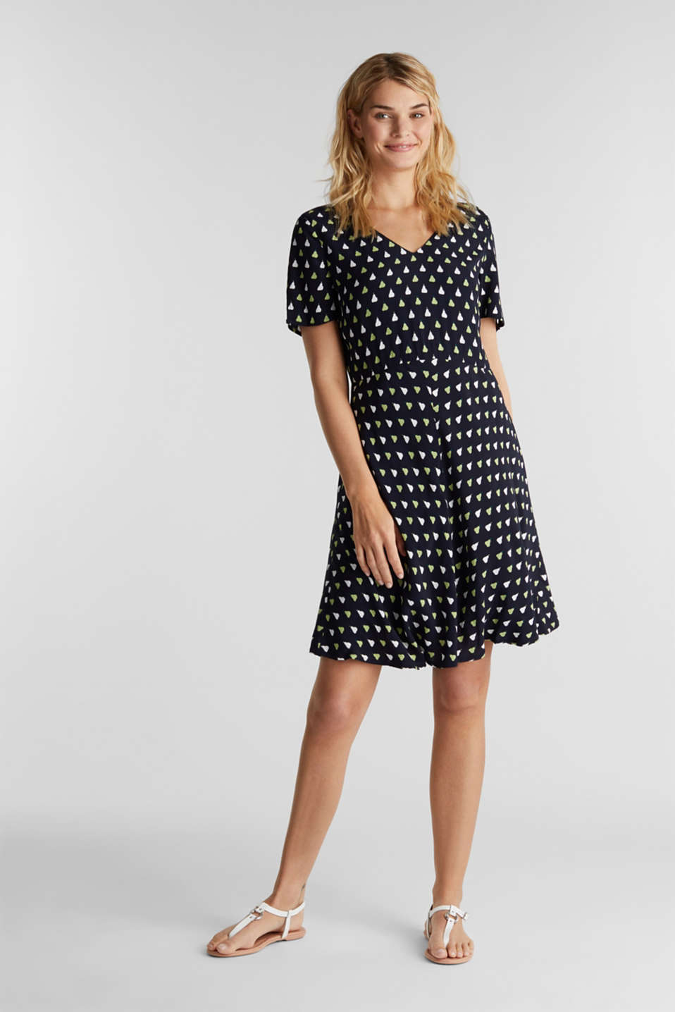 LENZING™ ECOVERO™ printed dress, NAVY 4, detail image number 1
