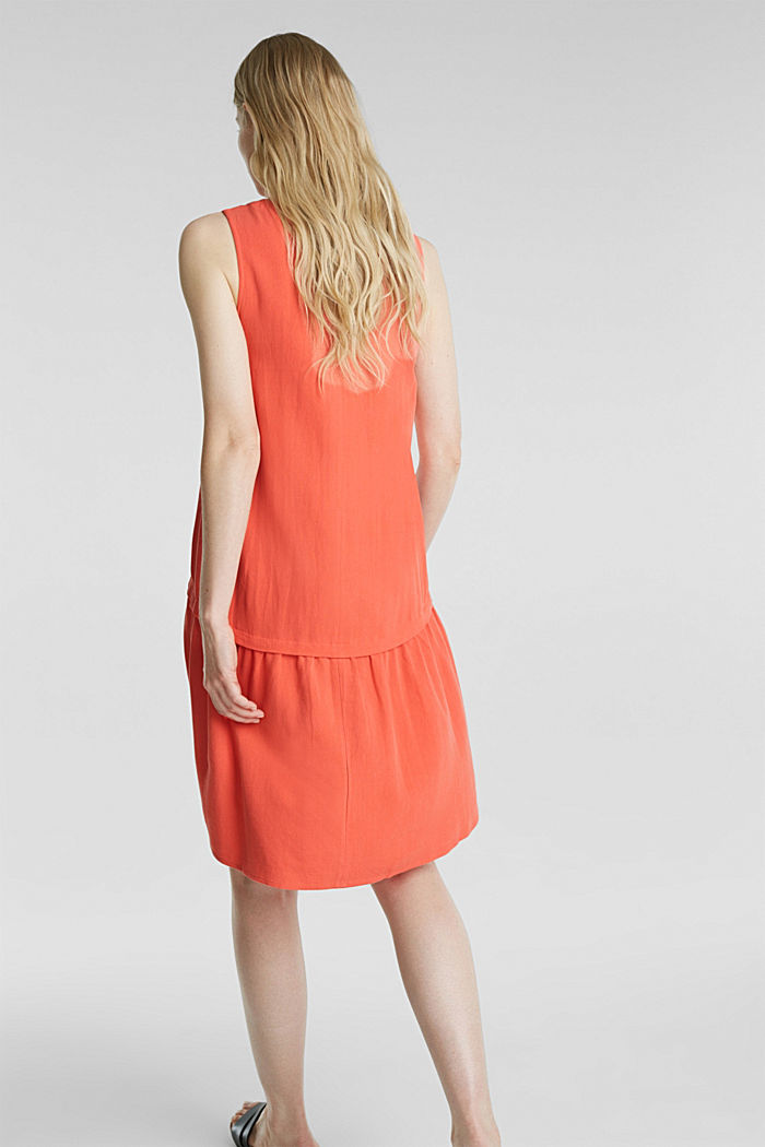 With linen: dress with a high-low hem, CORAL, detail image number 2