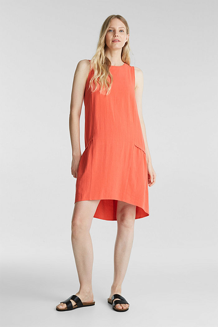 With linen: dress with a high-low hem, CORAL, detail image number 1