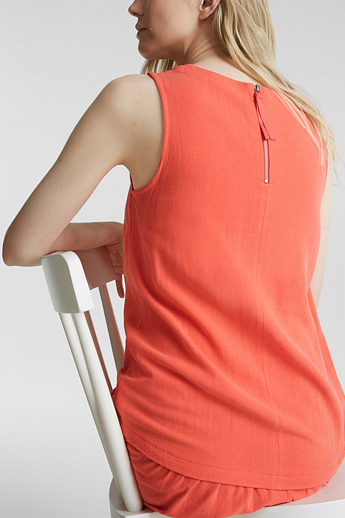 With linen: dress with a high-low hem, CORAL, detail image number 3