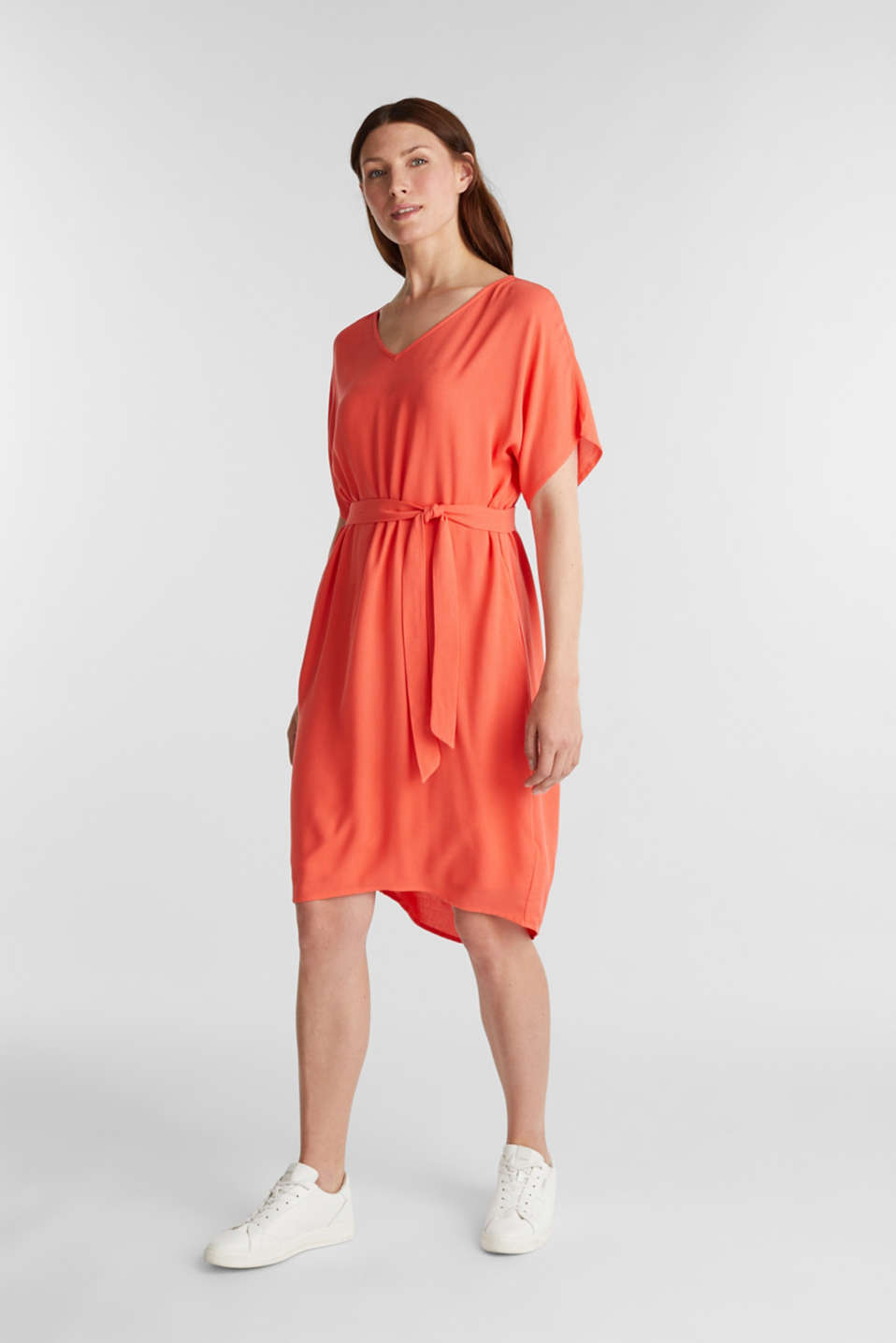 Dress with a high-low hem, CORAL, detail image number 0