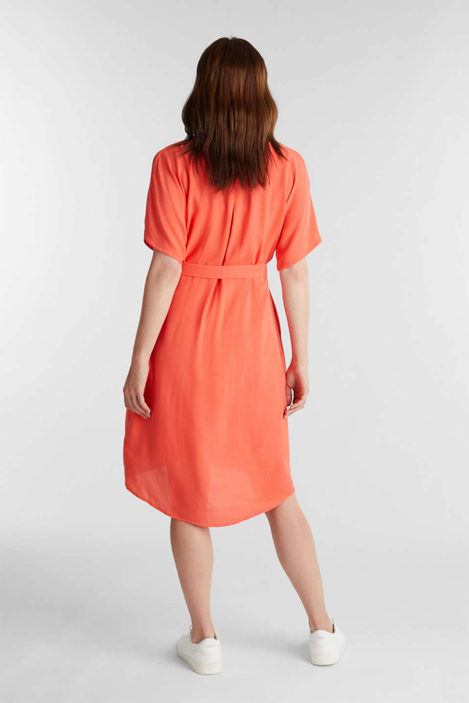 Dress with a high-low hem, CORAL, detail image number 2
