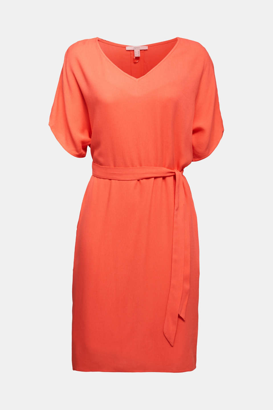 Dress with a high-low hem, CORAL, detail image number 6