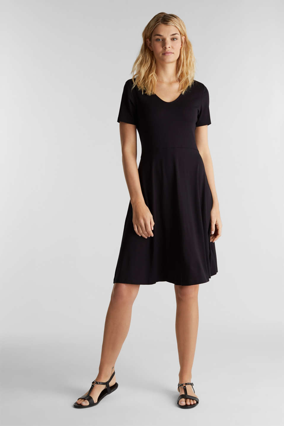 Jersey dress with waist ties, BLACK, detail image number 0