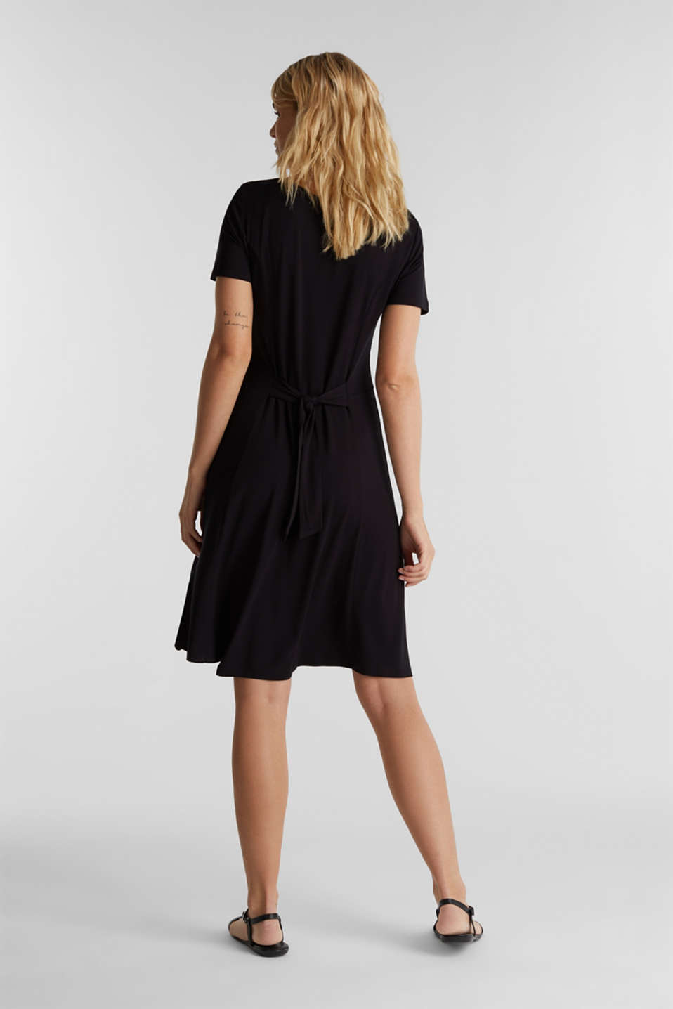 Jersey dress with waist ties, BLACK, detail image number 2