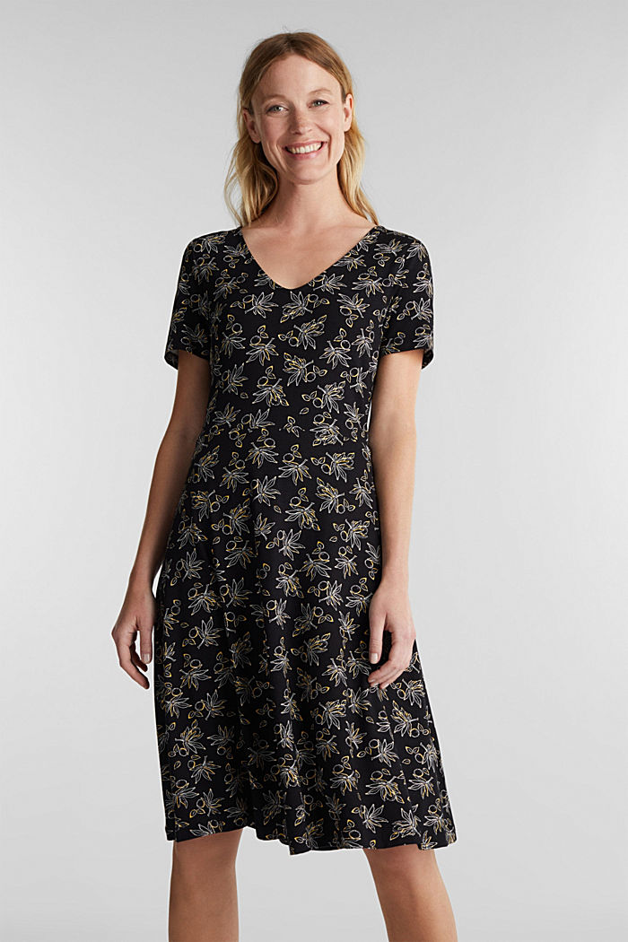 Stretch jersey dress with a print, BLACK, detail image number 0
