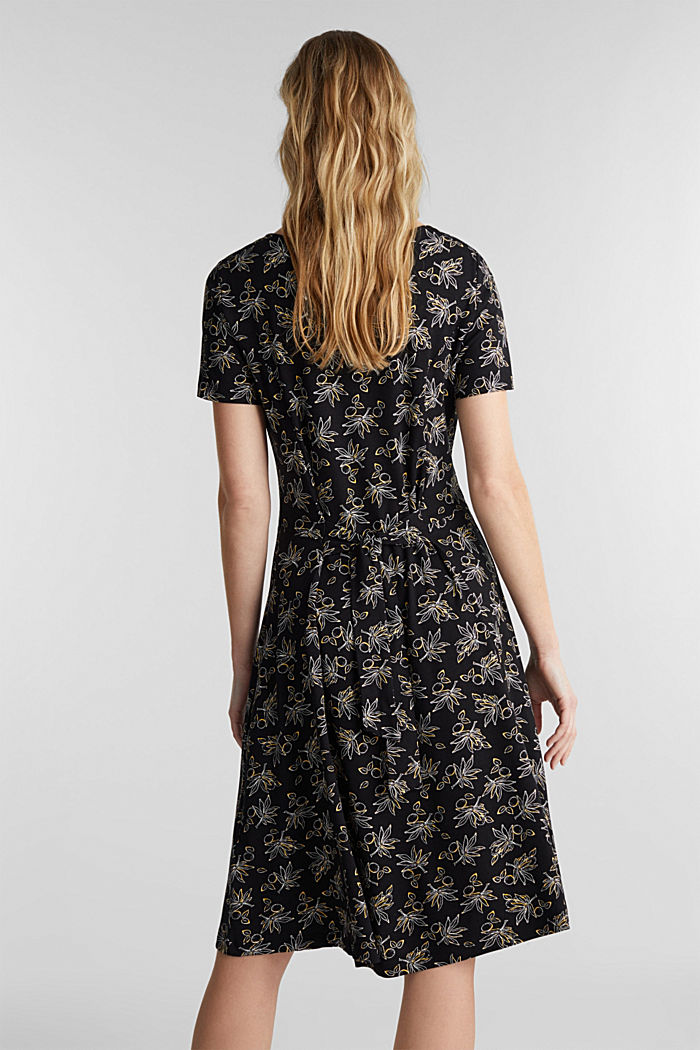 Stretch jersey dress with a print, BLACK, detail image number 2