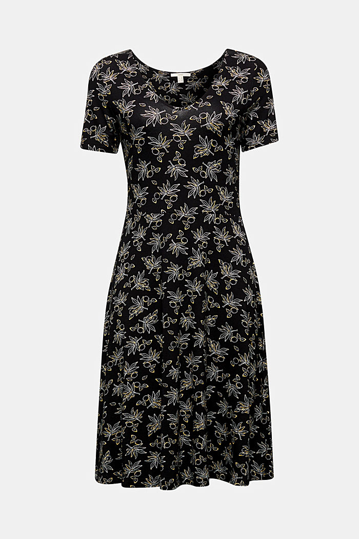 Stretch jersey dress with a print, BLACK, detail image number 5