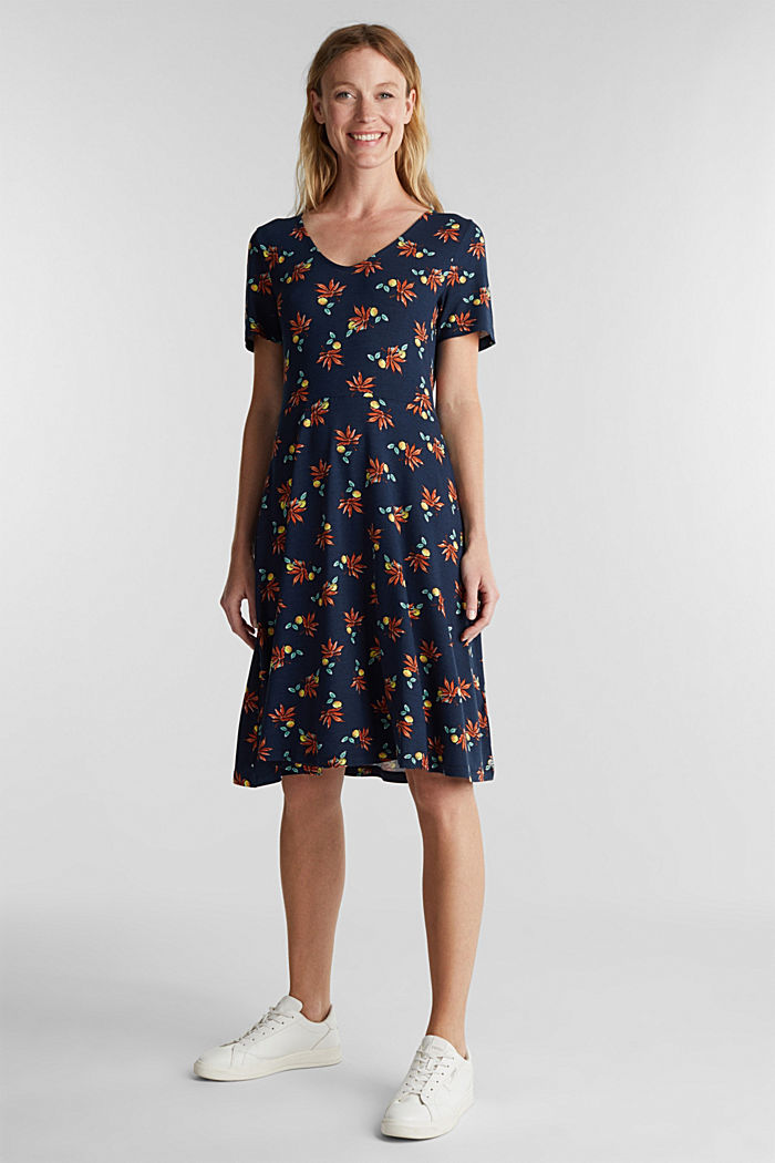 Stretch jersey dress with a print, NAVY, detail image number 0
