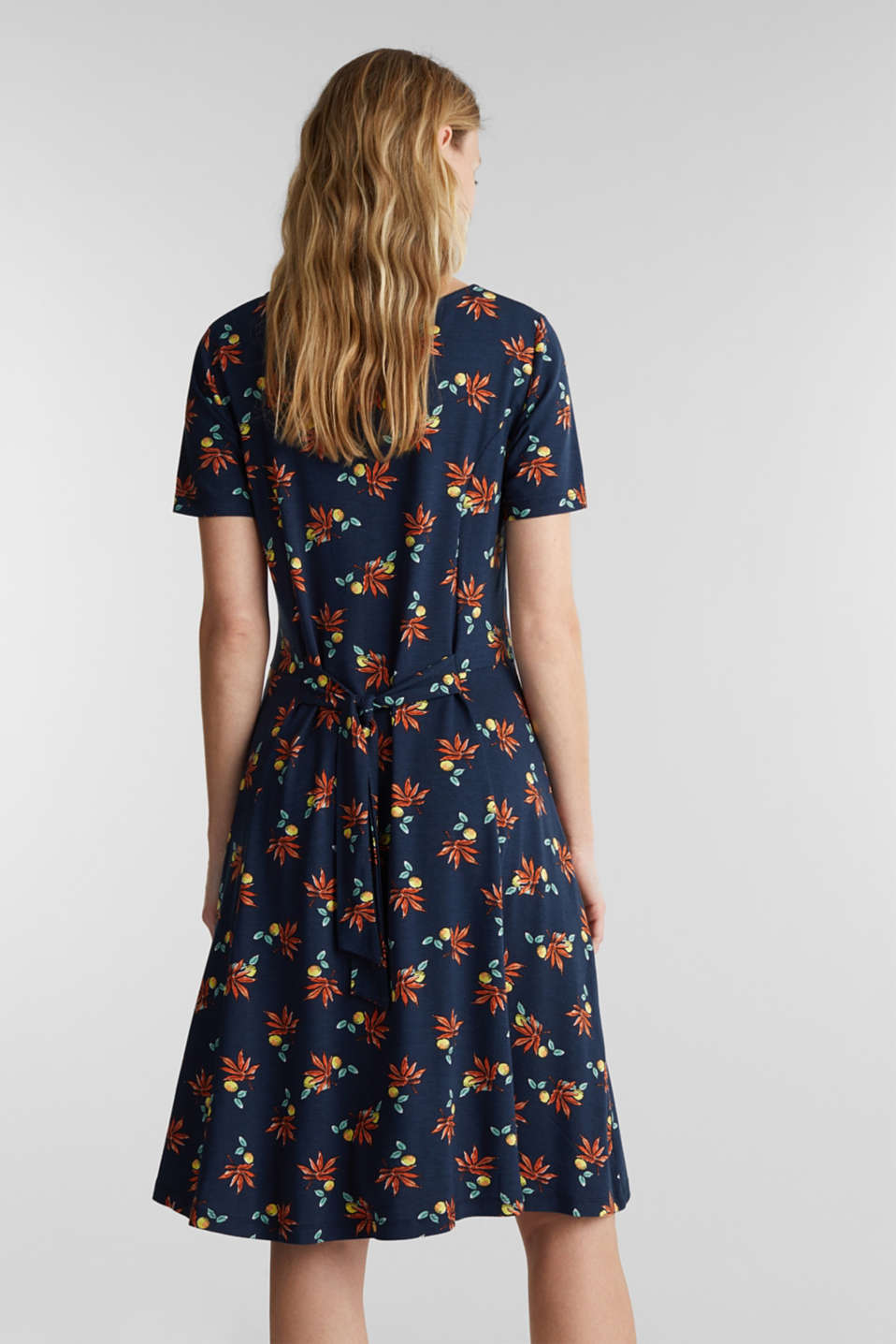 Stretch jersey dress with a print, NAVY, detail image number 2