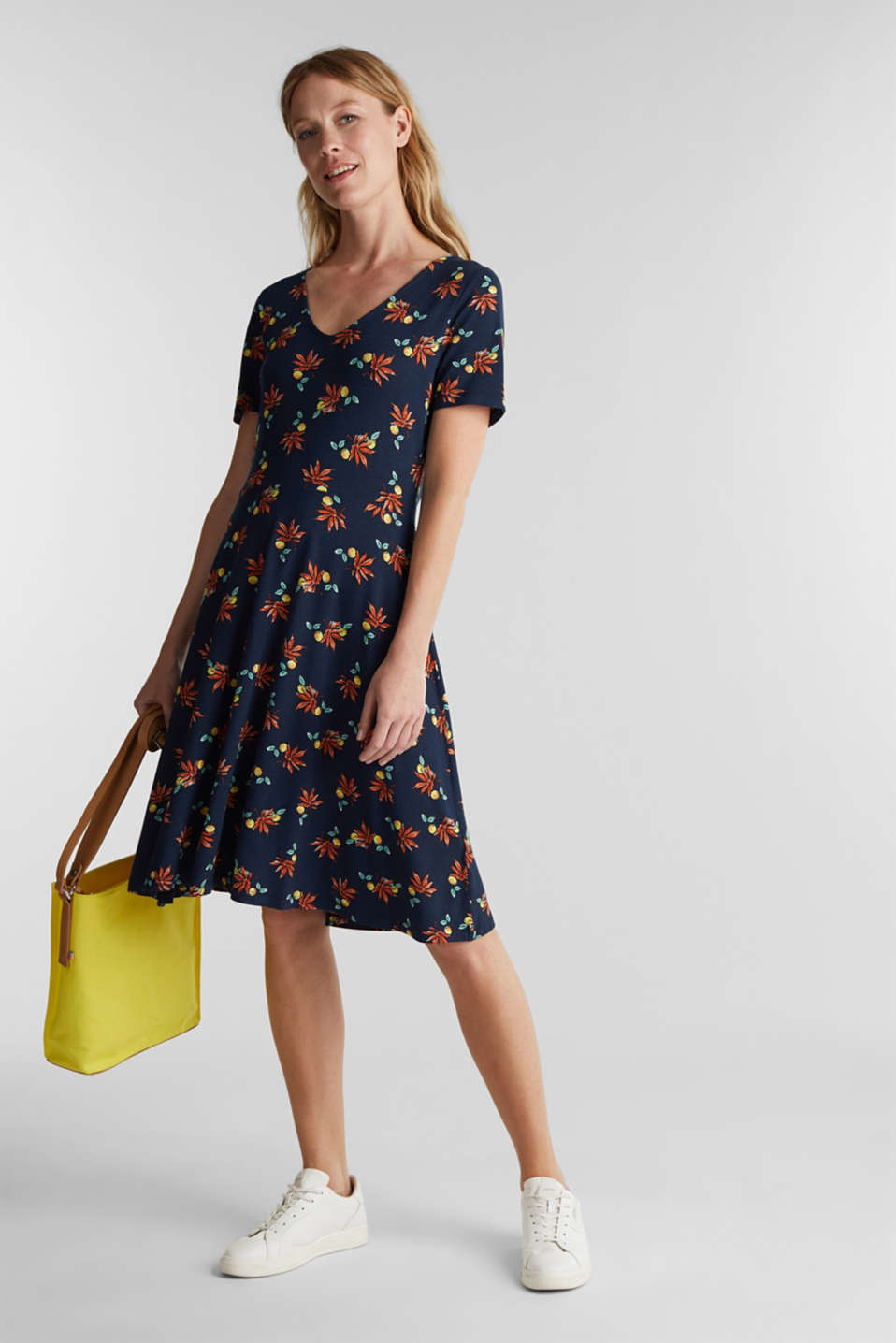 Stretch jersey dress with a print, NAVY, detail image number 1
