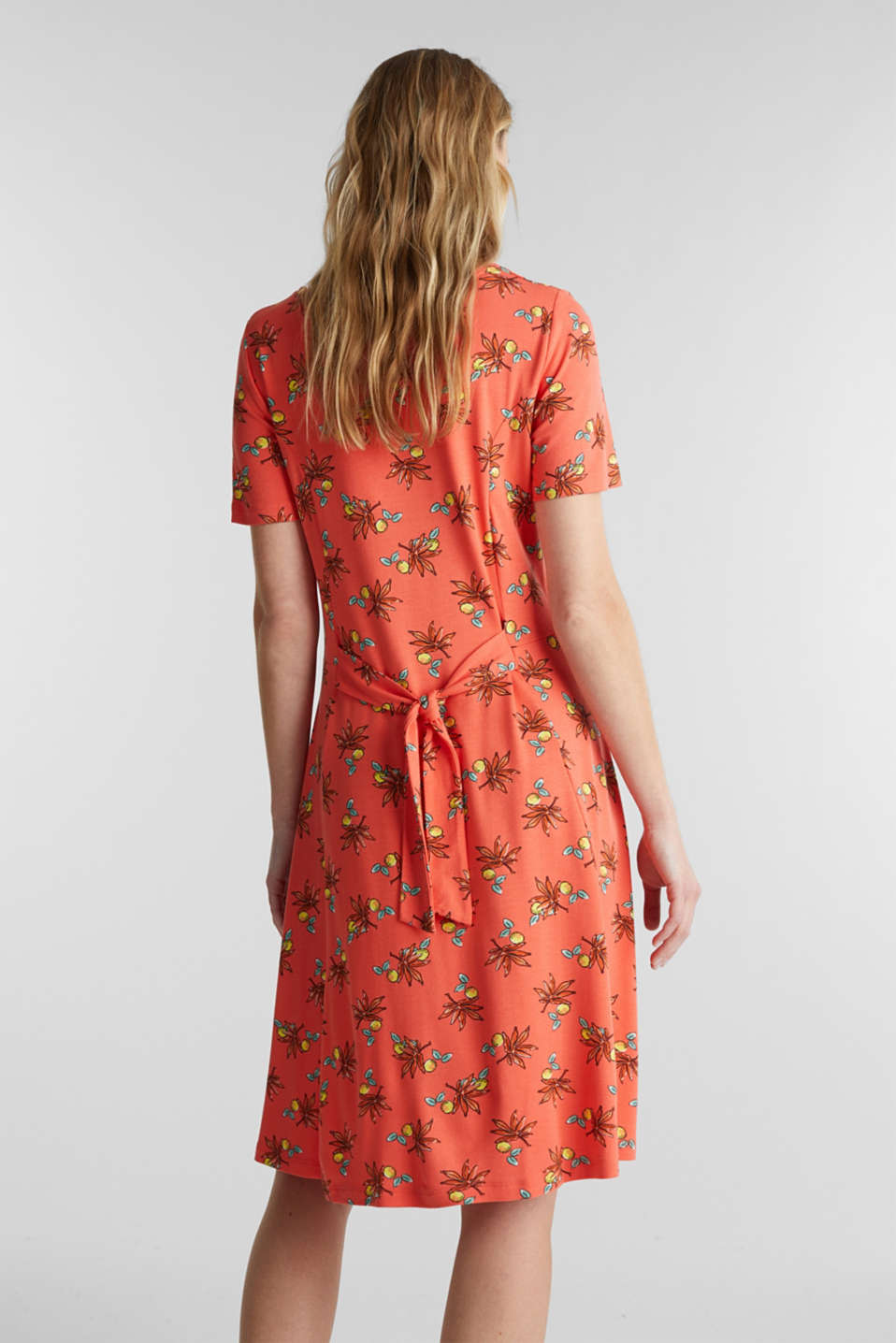 Stretch jersey dress with a print, CORAL, detail image number 2