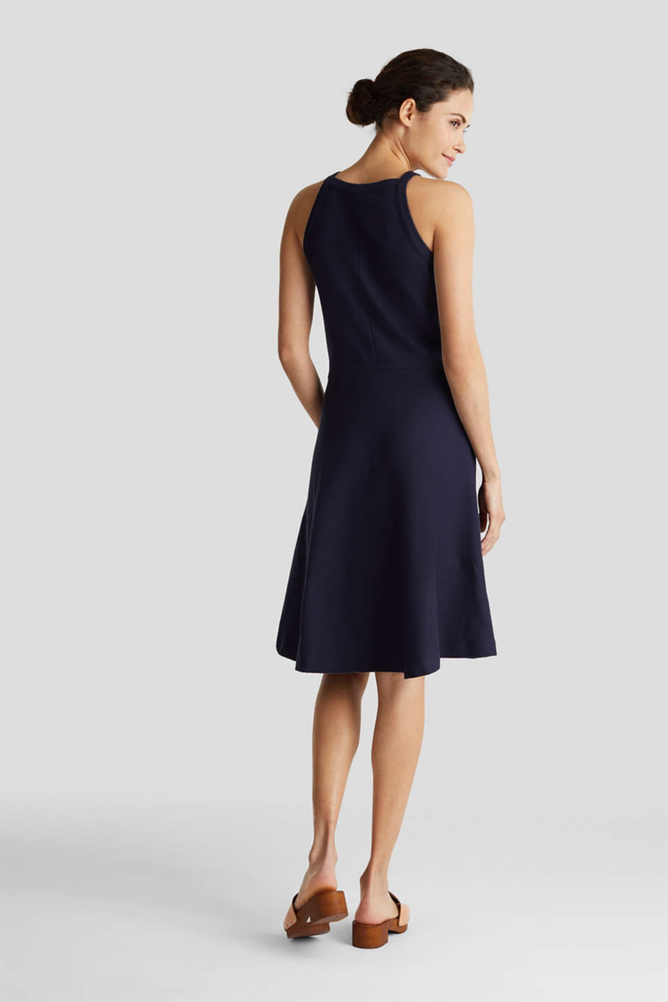 Ribbed stretch jersey dress, NAVY, detail image number 2