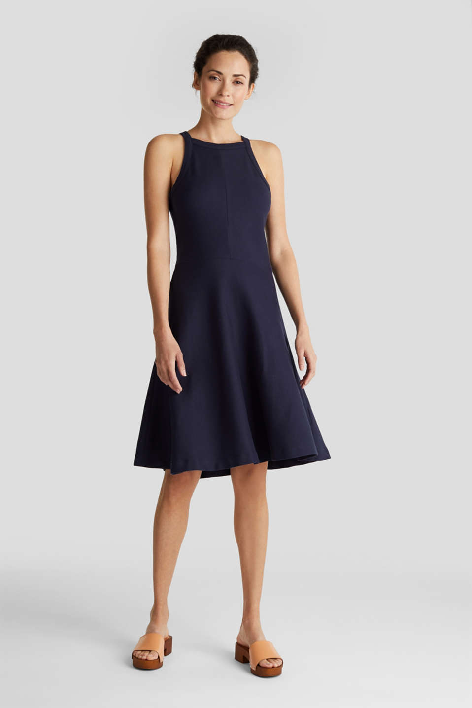 Ribbed stretch jersey dress, NAVY, detail image number 1