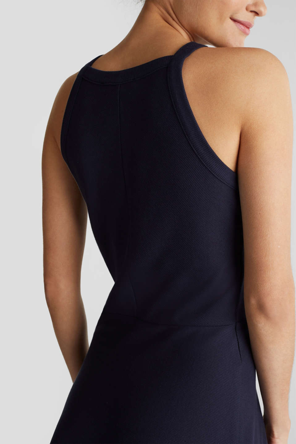 Ribbed stretch jersey dress, NAVY, detail image number 3