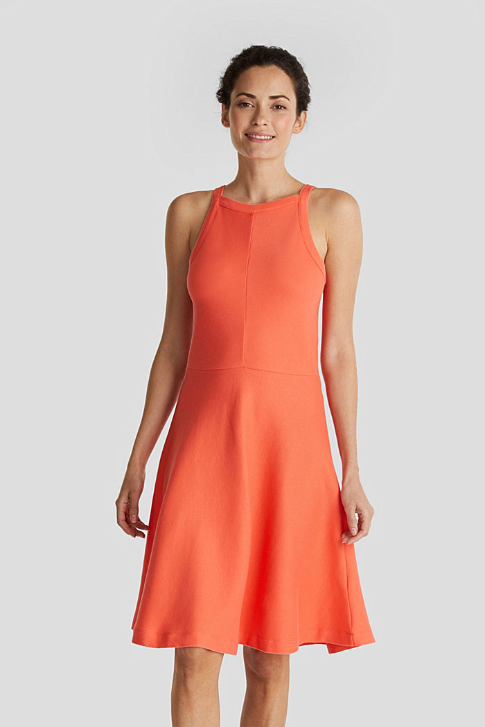 Ripp-Kleid aus Jersey-Stretch, CORAL RED, detail image number 0