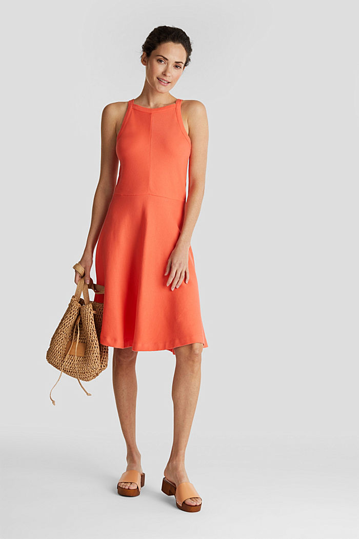 Ribbed stretch jersey dress, CORAL RED, overview
