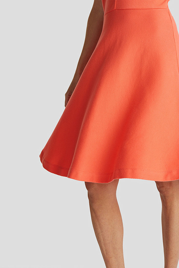 Ripp-Kleid aus Jersey-Stretch, CORAL RED, detail image number 3