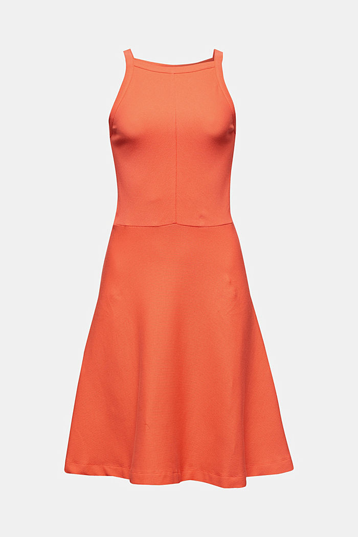 Ripp-Kleid aus Jersey-Stretch, CORAL RED, detail image number 5