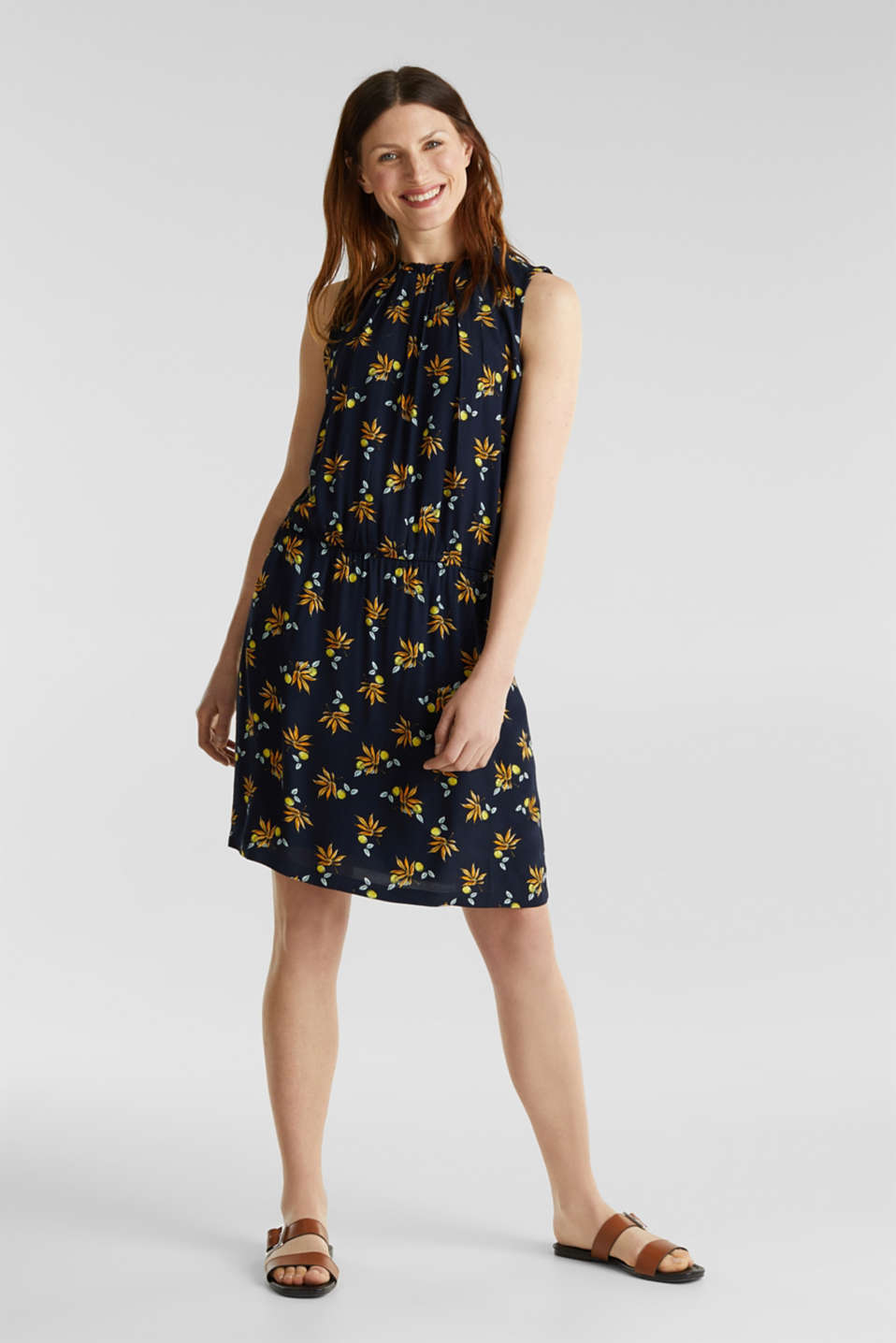 Crêpe dress, LENZING™ ECOVERO™, NAVY 5, detail image number 5