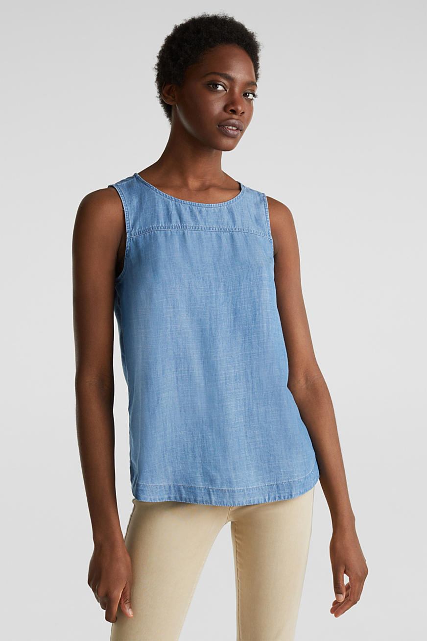 In TENCEL™: top blusato in denim