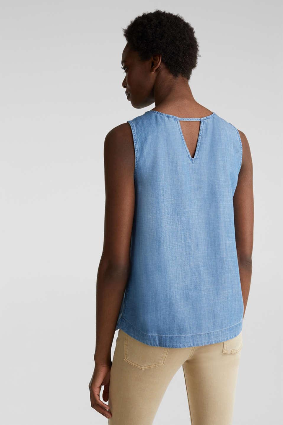 Made of TENCEL™: Denim blouse top, BLUE MEDIUM WASH, detail image number 3