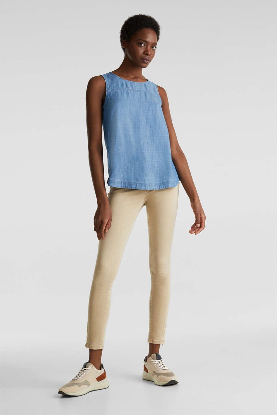 Made of TENCEL™: Denim blouse top, BLUE MEDIUM WASH, detail image number 6