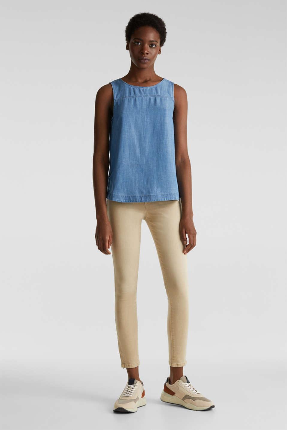 Made of TENCEL™: Denim blouse top, BLUE MEDIUM WASH, detail image number 1