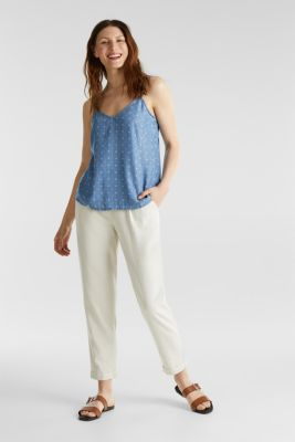 Made of TENCEL™: top in a denim look, BLUE MEDIUM WASH, detail