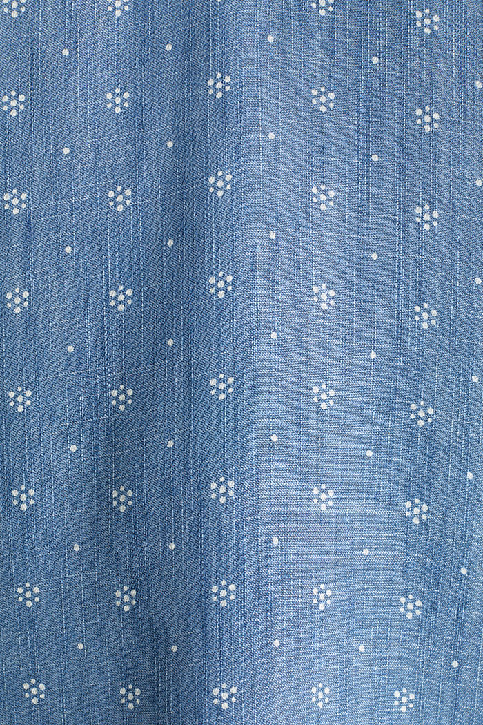 Made of TENCEL™: top in a denim look, BLUE MEDIUM WASHED, detail image number 4