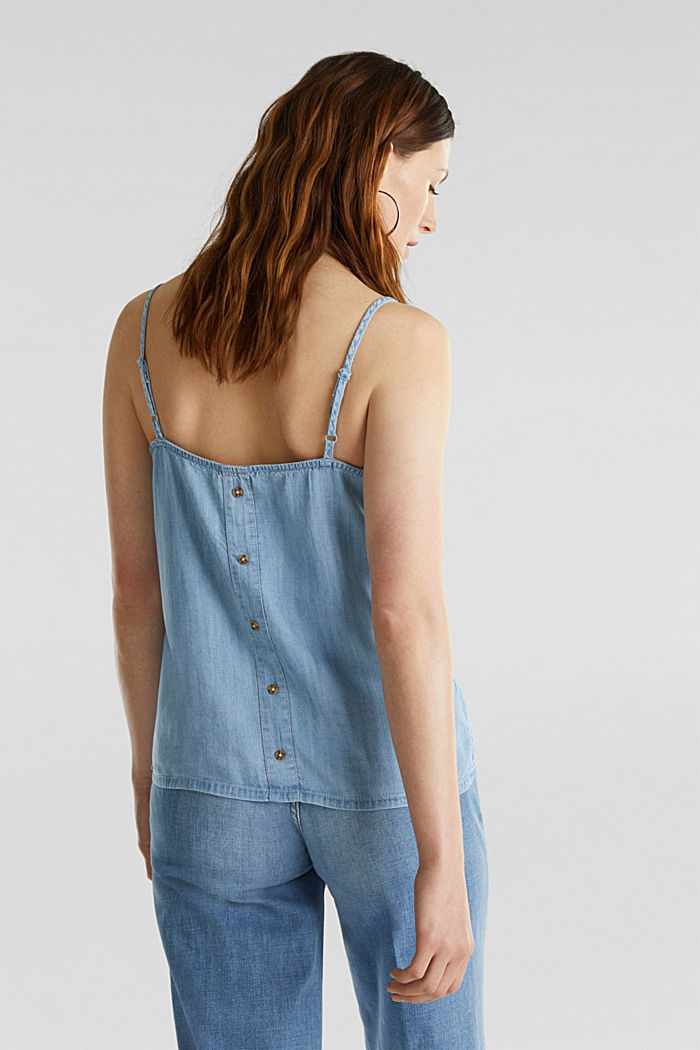 Made of TENCEL™: top in a denim look, BLUE BLEACHED, detail image number 3