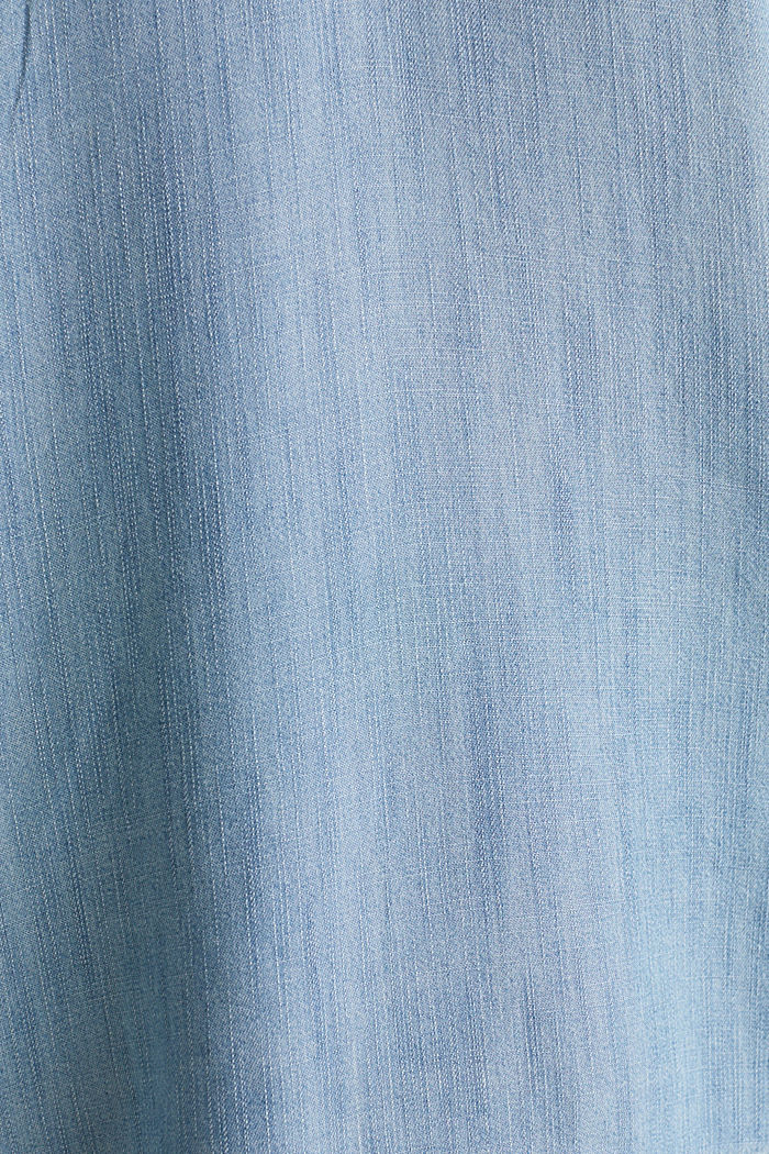 Made of TENCEL™: top in a denim look, BLUE BLEACHED, detail image number 4