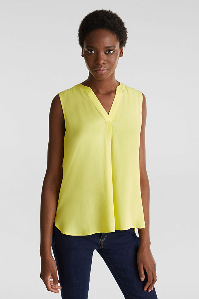 Blouse top made of LENZING™ ECOVERO™, BRIGHT YELLOW, detail image number 0