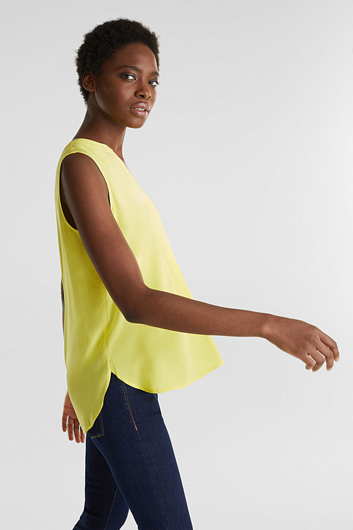 Blouse top made of LENZING™ ECOVERO™, BRIGHT YELLOW, detail image number 5