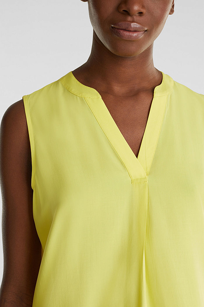 Blouse top made of LENZING™ ECOVERO™, BRIGHT YELLOW, detail image number 2