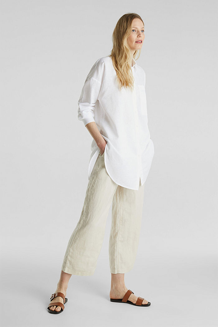 Linen blend: long shirt blouse, WHITE, detail image number 0