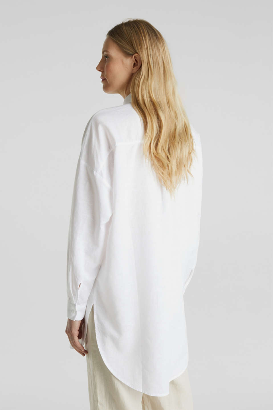 Linen blend: long shirt blouse, WHITE, detail image number 3