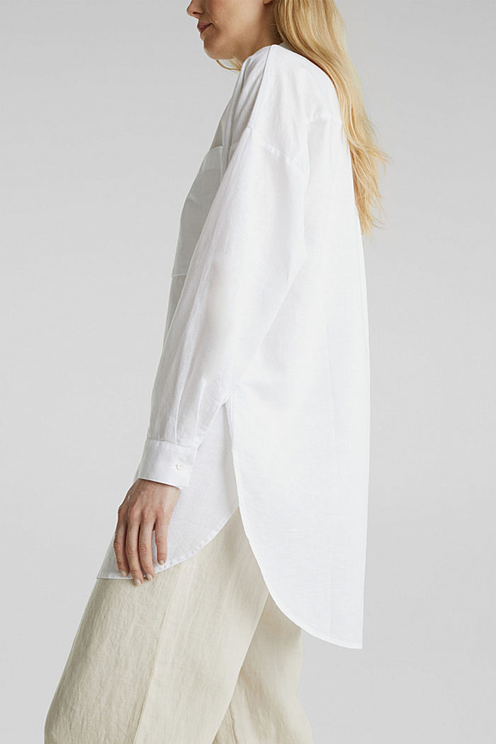 Linen blend: long shirt blouse, WHITE, detail image number 5