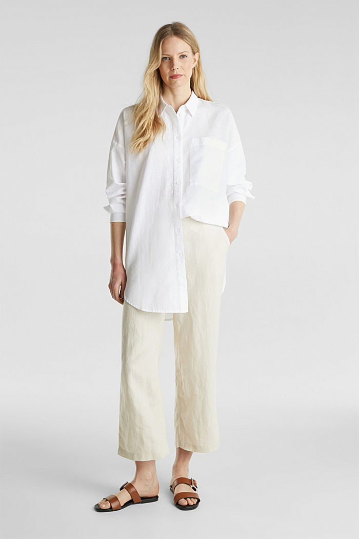 Linen blend: long shirt blouse, WHITE, detail image number 1
